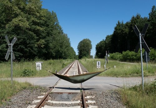 Hammock on train tracks